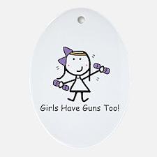Exercise - Girls Guns Ornament (Oval)