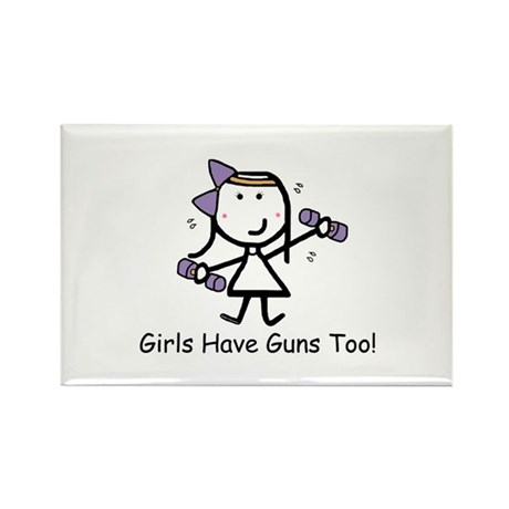 Exercise - Girls Guns Rectangle Magnet (10 pack)