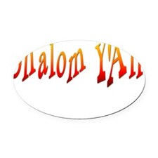Shalom Yall Fire flat Oval Car Magnet