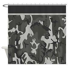 Grey Camo Pattern Shower Curtain
