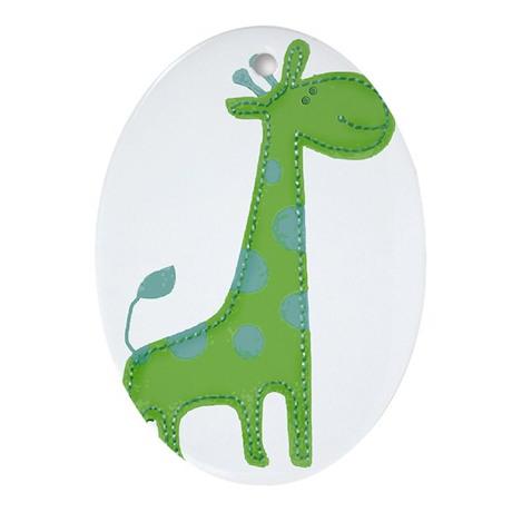 Green Giraffe Fabric Applique Oval Ornament