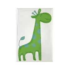 Green Giraffe Fabric Applique Rectangle Magnet