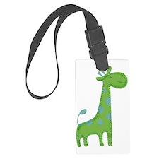 Green Giraffe Fabric Applique Luggage Tag