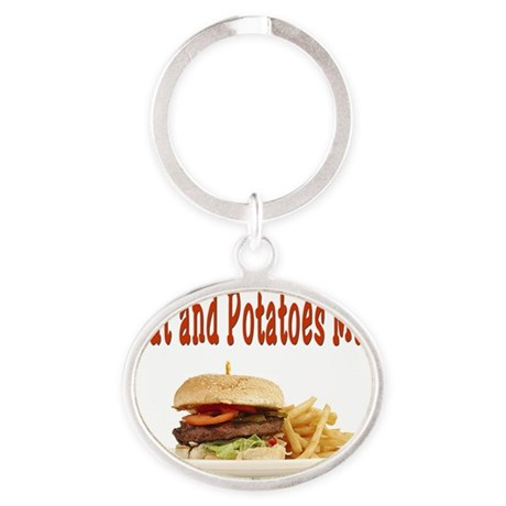 Meat and Potatoes Man Oval Keychain