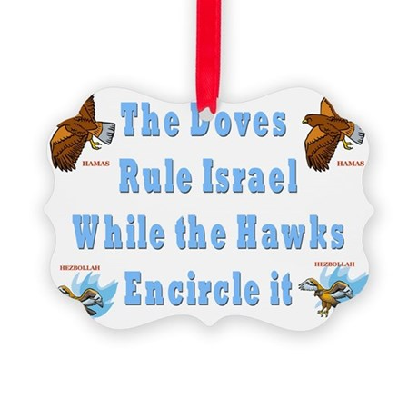 iSRAELS DOVES AND HAWKS Picture Ornament