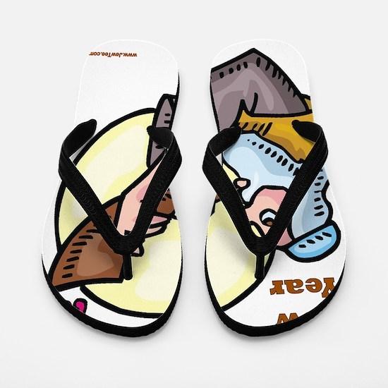 Happy Jewish New Year Shofar Flip Flops