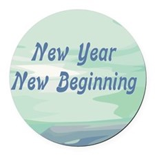 New Year New Beginning Round Car Magnet