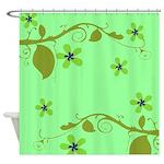 Elegant Green Floral Design Shower Curtain