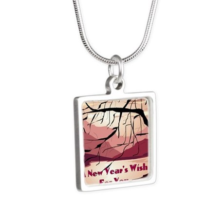 A new years wish for you Silver Square Necklace