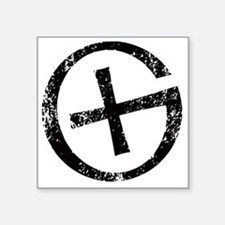 "Geocache symbol distresssed Square Sticker 3"" x 3"""