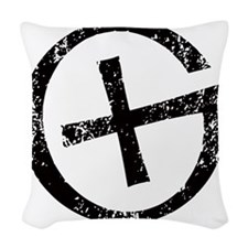 Geocache symbol distresssed Woven Throw Pillow