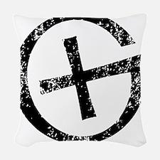 Geocache symbol distresssed Woven Throw Pillow