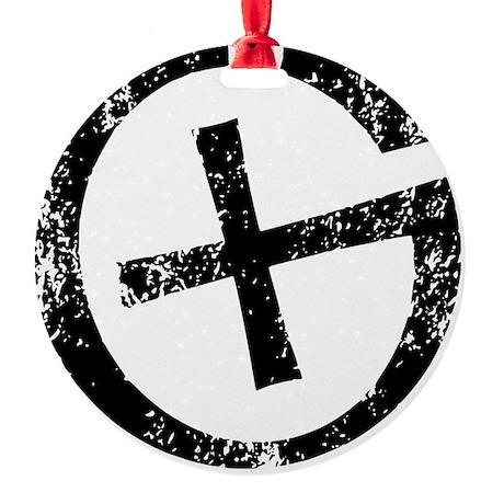 Geocache symbol distresssed Round Ornament