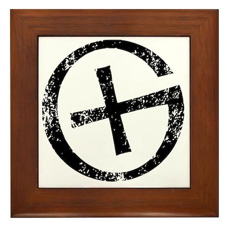 Geocache symbol distresssed Framed Tile