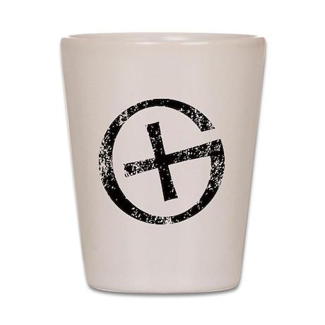 Geocache symbol distresssed Shot Glass