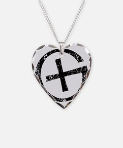 Geocache symbol distresssed Necklace