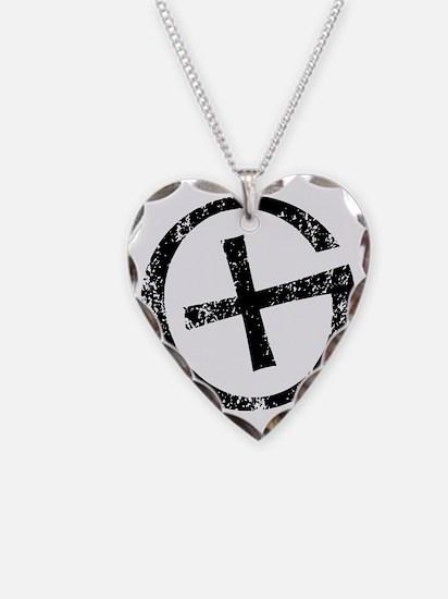 Geocache symbol distresssed Necklace