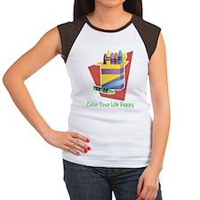 Color your life happy Women's Cap Sleeve T-Shirt