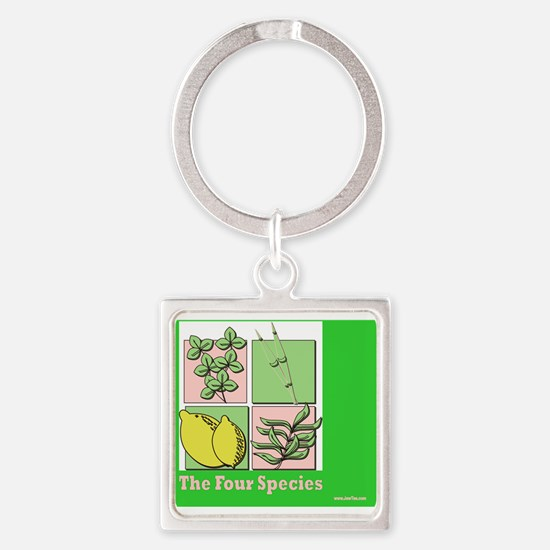 Te Four Species Succah Poster Square Keychain