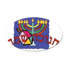 Happy Chanukah Hebrew Oval Car Magnet