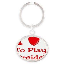 i love to play dreidel Oval Keychain