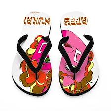 happy chanukah dreidelflat Flip Flops