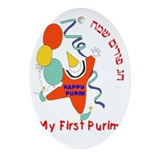 my first purim 10 Oval Ornament