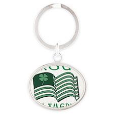 PROUD IRISH AMERICAN FLAT Oval Keychain