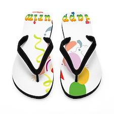 Happy Purim Multi flat Flip Flops