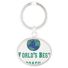 worlds best coach 2 flat Oval Keychain