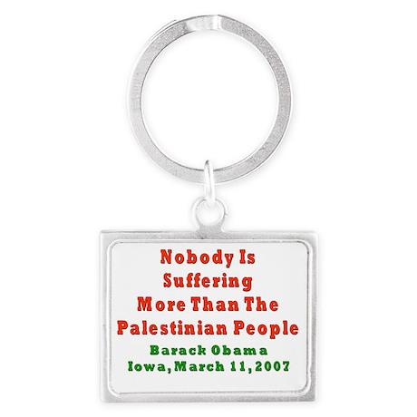 obama palestinians flat Landscape Keychain