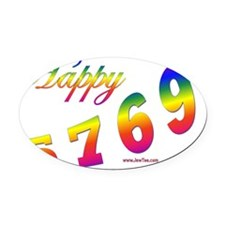 Happy 5769 flat Oval Car Magnet