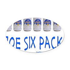 Joe Six Pack Oval Car Magnet