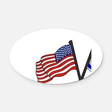 American Israeli Flags Oval Car Magnet