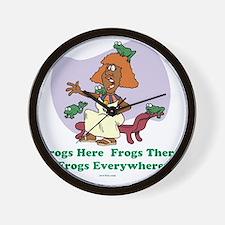 â??Frogs Everywhere 2â?� flat Wall Clock
