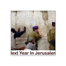 "Next Year In Jerusalem Square Sticker 3"" x 3"""