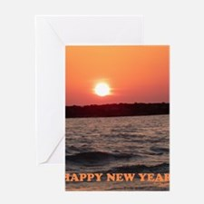 Sunset New Year Card Greeting Card
