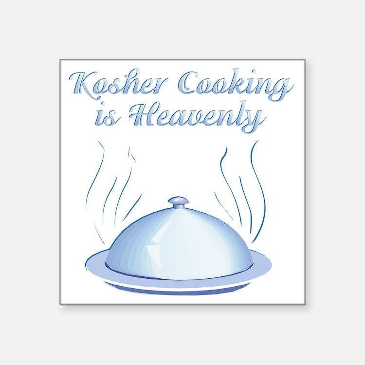 "KosherCooking-WHITE flat Square Sticker 3"" x 3"""