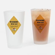 Warning New Dad 2 flat Drinking Glass