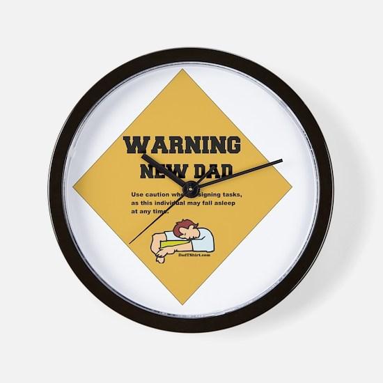 Warning New Dad 2 flat Wall Clock