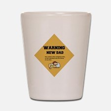Warning New Dad 2 flat Shot Glass