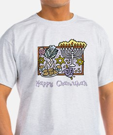 Happy Chanukah Curly 3 flat T-Shirt