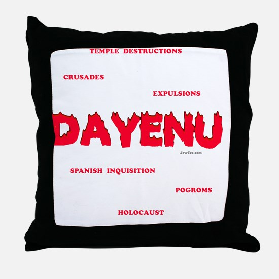 Dayenu white flat Throw Pillow