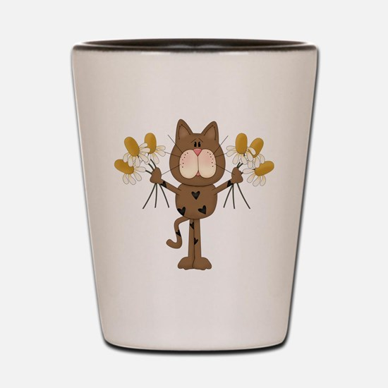 Cat with Daisies Shot Glass