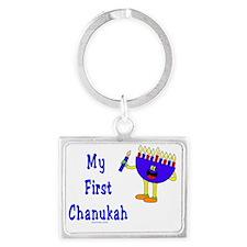 My First Chanukah Blue flat Landscape Keychain