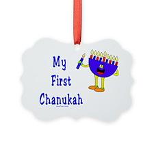 My First Chanukah Blue flat Ornament