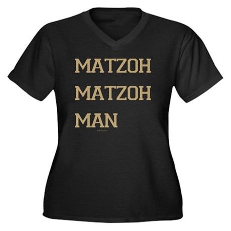 Matzoh MAtzo Women's Plus Size Dark V-Neck T-Shirt