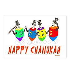 happy chanukah dreidelsfl Postcards (Package of 8)