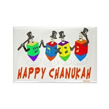 happy chanukah dreidelsflat Rectangle Magnet