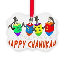 happy chanukah dreidelsflat Ornament